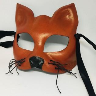 """Эксклюзивная кожаная маска кошки """"RED CAT"""""""