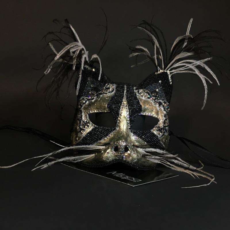 """Эксклюзивная карнавальная венецианская маска кошка """"GATTA NERA"""""""