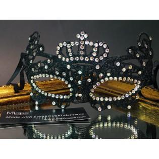 Эксклюзивная черная кружевная маска с короной, черная женская полумаска с кристаллами SWAROVSKI, карнавальная маска из кружева для маскарада, вечеринки, роскошная дизайнерская маска