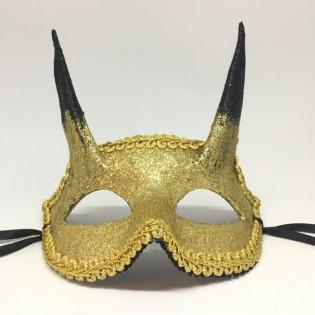 """Карнавальная маска """"Золотистый чертенок"""""""