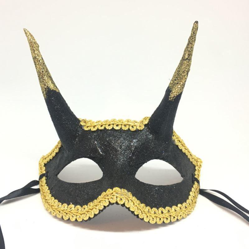 """Карнавальная маска """"Черно-золотистый чертенок"""""""