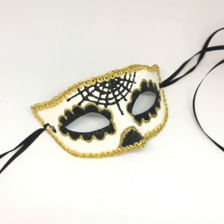 """Карнавальная маска """"Получереп золотистый"""""""