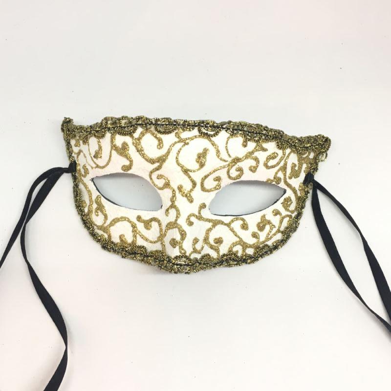 """Карнавальная маска """"Золотые узоры - белая"""""""