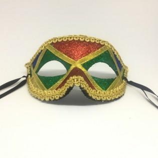 """Карнавальная маска """"Арлекин с зелеными глазами"""""""