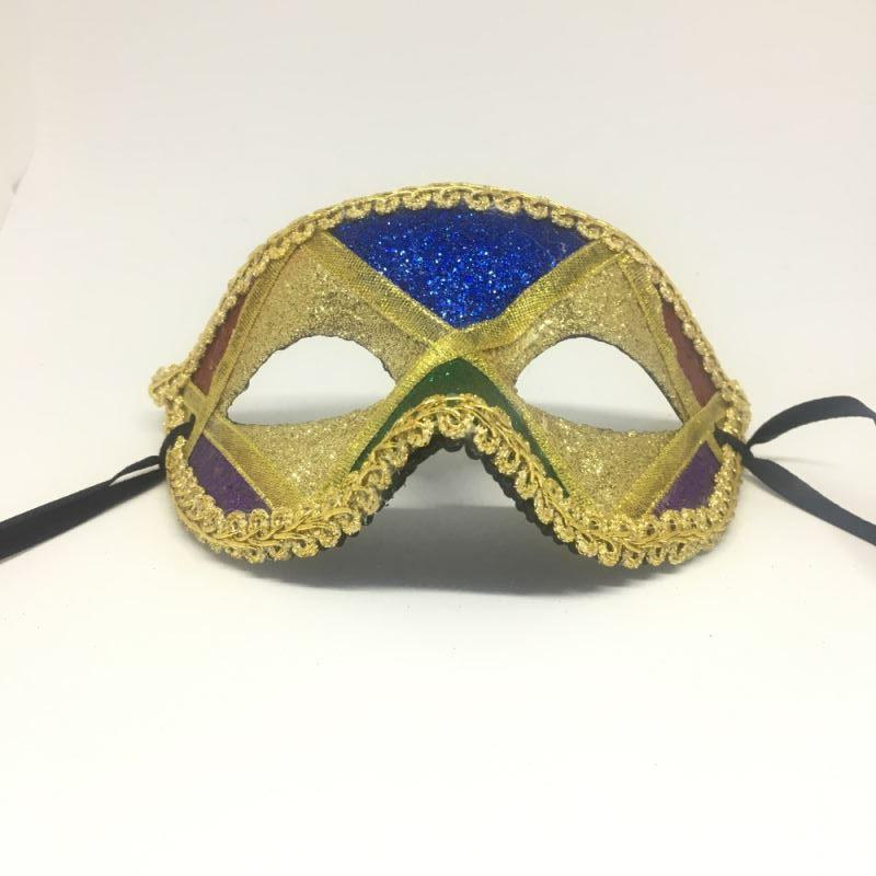 """Карнавальная маска """"Арлекин с золотыми глазами и зеленым носом"""""""
