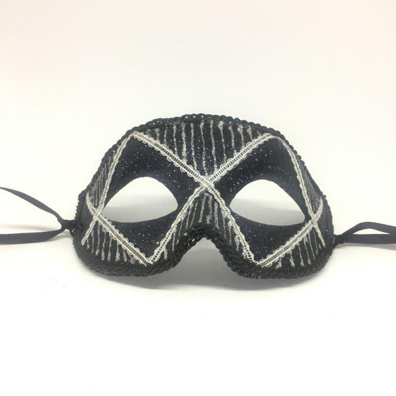"""Карнавальная маска """"Арлекин черный с серебром"""""""