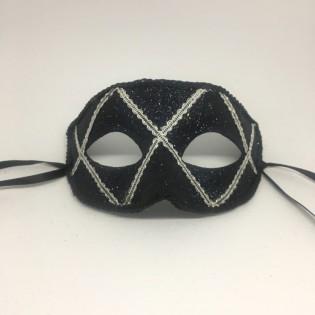 """Карнавальная маска """"Арлекин черный монохром"""""""