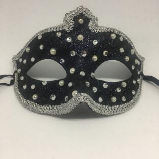 """Карнавальная маска """"Морозные капли в серебре с короной"""""""