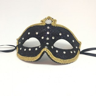"""Карнавальная маска """"Хрустальные капли с короной в золоте"""""""
