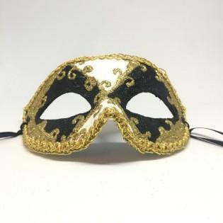 """Карнавальная маска """"Арлекин черно-белый с узором"""""""