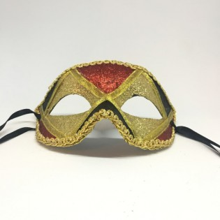 """Карнавальная маска """"Арлекин трехцветный золотой"""""""