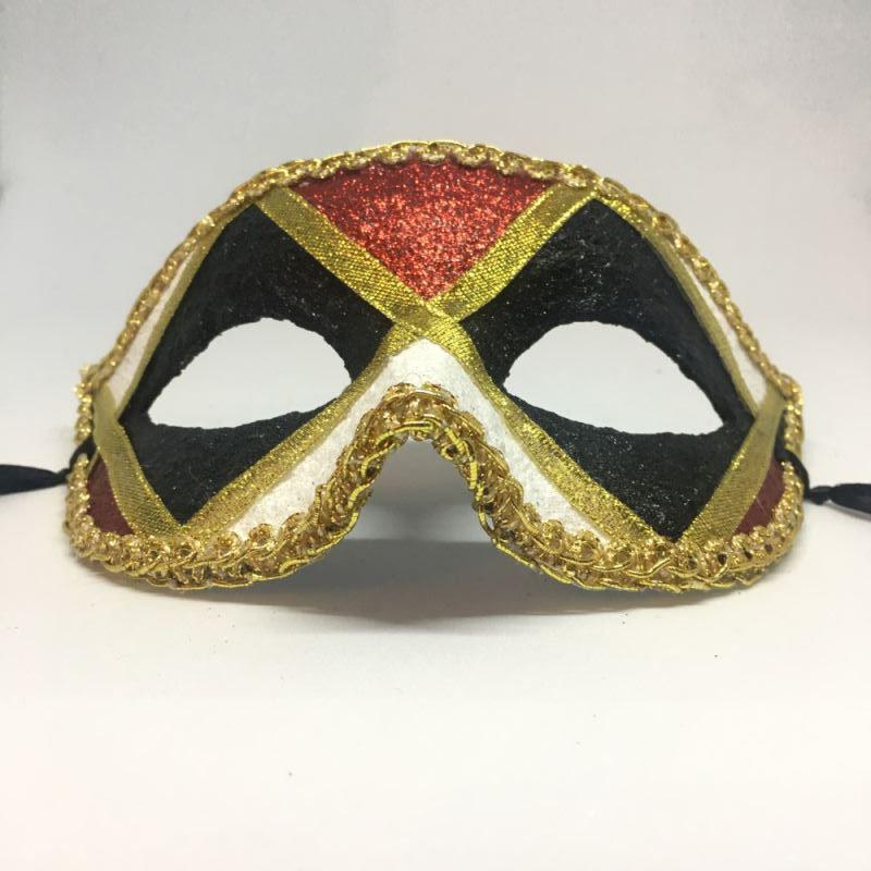 """Карнавальная маска """"Арлекин трехцветный строгий"""""""