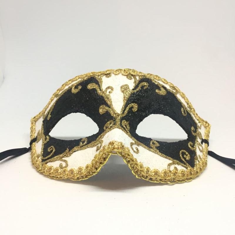 """Карнавальная маска """"Пьеро черно-белый с узором"""""""