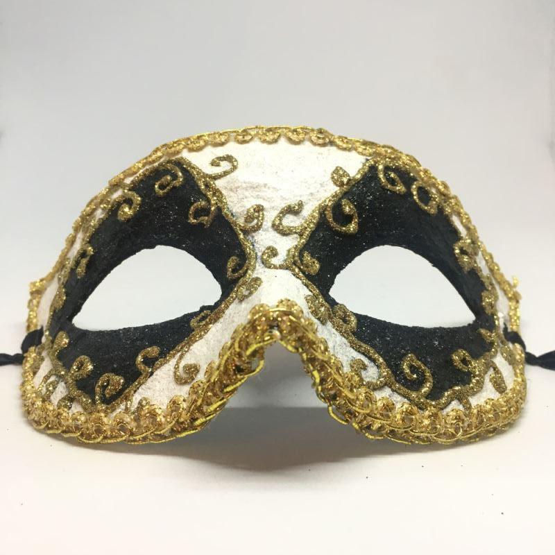 """Карнавальная маска """"Арлекин черно-белый с лепестками"""""""