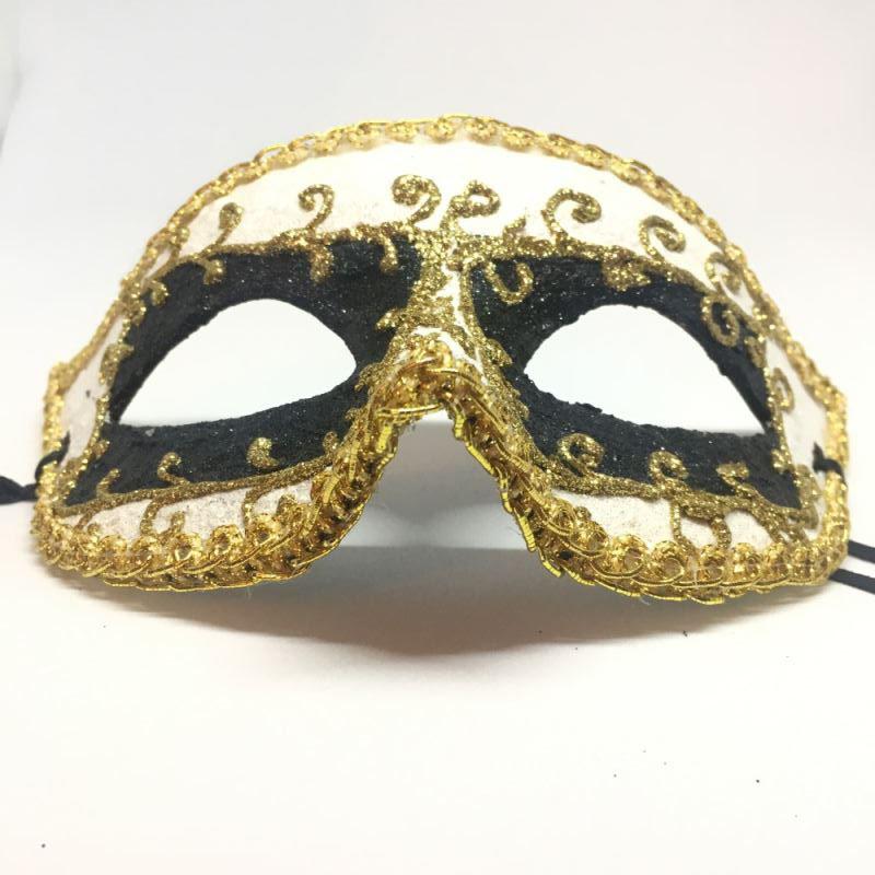 """Карнавальная маска """"Арлекин черные квадраты с узором"""""""