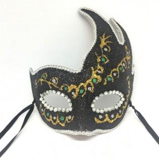 """Карнавальная маска ручной работы на палочке """"Коломбина узор изумрудные бусы с золотом"""""""